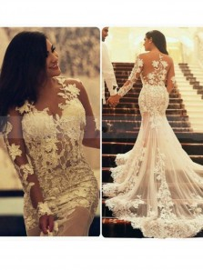 Romantic A-line Strapless Long Lace Wedding Dress,Long Sleeve Beach Dress