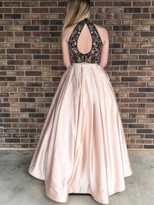 Stylish Two Piece Round Neck Open Back Light Champagne Satin Long Prom Dresses with Beads Pockets,Evening Party Dresses
