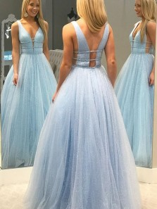 Charming Ball Gown V Neck Open Back Blue Tulle Long Prom Dresses with Beaded,Sparkly Formal Party Dresses