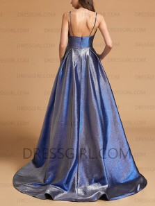 A-Line Sweetheart Open Back Royal Blue Sparkly Satin Long Prom Dresses with Pockets