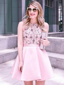 Cute A-Line Round Neck Pink Satin Short Homecoming Dresses with Beading,Princess Formal Party Dresses