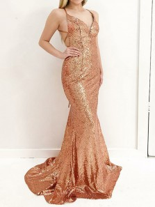 Modest Mermaid V Neck Cross Back Champagne Sequins Long prom Dresses,Charming Evening Party Dresses