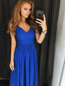 Charming A-Line Spaghetti Straps Open Back Royal Blue Elastic Satin Long Prom Dresses with Side Split Under 100