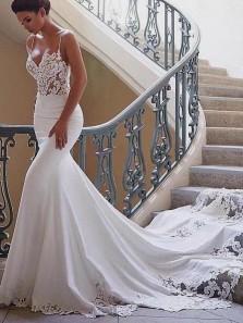 Romantic Mermaid Sweetheart Spaghetti Straps Open Back White Satin Long Wedding Dresses with Lace DG1201010