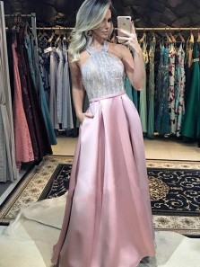 Luxurious A-Line Halter Backless Blush Satin Long Prom Dresses with Beading,Evening Party Dresses