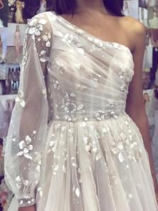 Princess A-Line One Shoulder Long Sleeve White Tulle Appliques Long Wedding Dresses,Unique Bridal Gown