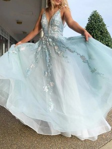 Fairy A-Line V Neck Sky Blue Tulle Long Prom Dresses with Lace Appliques,Formal Evening Dresses