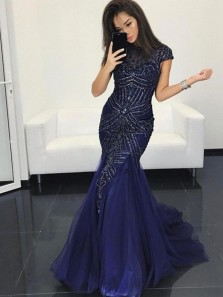 Gorgeous Mermaid Round Neck Cap Sleeve Navy Blue Tulle Long Prom Dresses,Evening Formal Party Dresses