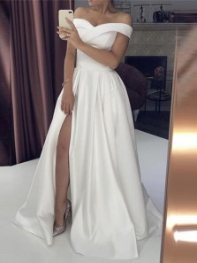 Charming A-Line Off the Shoulder Open Back Ivory Satin Long Prom Dresses with High Split,Evening Party Dresses