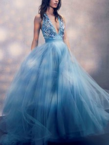 Glamorous A-Line Deep V Neck Halter Open Back Blue Tulle Long Prom Dresses with Beaded,Princess Evening Party Dresses