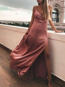 Simple A-Line V Neck Spaghetti Straps Side Split Blush Satin Long Prom Dresses Under 100,Cheap Evening Party Dresses