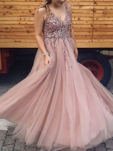 Luxurious A-Line V Neck Open Back Blush Tulle Long Prom Dresses with Beading,Evening Party Dresses