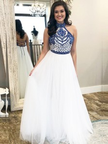 Unique A-Line Halter Criss Cross Back Royal Blue and White Tulle Long Prom Dresses with Embroidery,Girls Junior Graduation Gown,Evening Party Dresses
