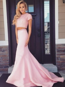 Elegant Two Piece Round Neck Short Sleeve Pink Satin Mermaid Long Prom Dresses with Beading,Formal Evening Party Dresses