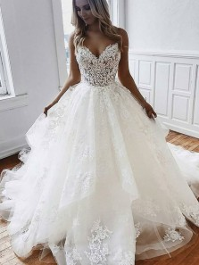 Princess Ball Gown Sweetheart Spaghetti Straps Ivory Lace Wedding Dresses with Train,2020 Bridal Gown
