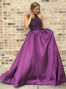 Romantic A-Line Halter Grape Satin Beading Long Prom Dresses,Formal Evening Party Dresses