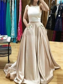 Two Piece Champagne Satin Long Prom Dresses with Pockets