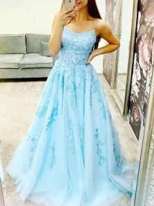 Princess A-Line Scoop Neck Cross Back Sky Blue Tulle Long Prom Dresses with Appliques