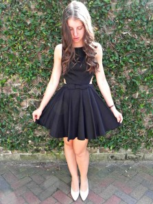 Cute A-Line Round Neck Satin Little Black Dress,Homecoming Dresses Under 100
