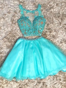 Cute A-Line Two Piece Round Neck Lake Blue Organza Short Homecoming Party Dresses with Beading and Appliques