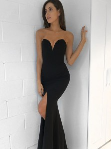 Sexy Mermaid Sweetheart Strapless Black Prom Evening Dresses with Split,Formal Party Dresses