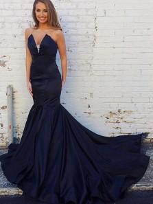 Elegant Mermaid V Neck Open Back Navy Blue Satin Long Prom Dresses,Formal Party Dresses