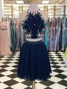 Cute A-Line Two Piece Halter Navy Blue Chiffon Short Homecoming Dresses with Embroidery DG0916008