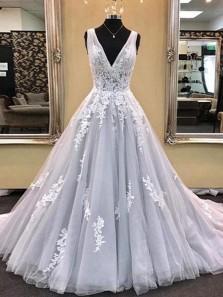 Charming A-Line V Neck Open Back Light Blue Tulle Long Prom Dresses with Appliques,Elegant Formal Party Dresses