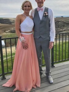 Stylish Two Piece A-Line Halter Open Back Coral Chiffon and White Lace Long Prom Dresses,Formal Party Dresses