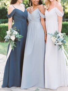 Elegant A-Line Off the Shoulder Open Back White Chiffon Long Bridesmaid Dresses Under 100