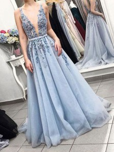 Unique A-Line V Neck Open Back Blue Tulle Long Prom Dresses with Beading,Evening Party Dresses