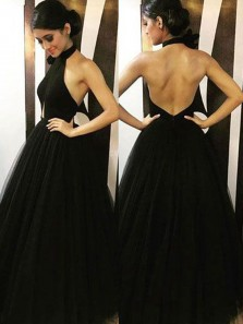 Charming A-Line Halter Backless Black Tulle Long Prom Dresses,Evening Party Dresses