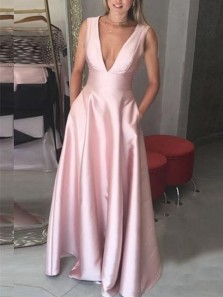 Simple A-Line Deep V Neck Open Back Blush Satin Long Prom Dresses with Pockets,Evening Party Dresses