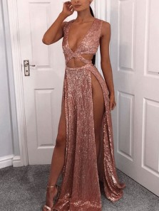 Unique A-Line V Neck Zipper Back Blush Sequins Long Prom Dresses with Slit,Evening Dresses Party Dresses