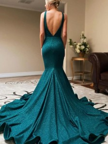Sparkly Mermaid V Neck Open Back Blue Sequins Long Prom Dresses with Train,Formal Party Dresses