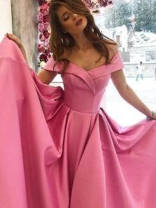 Elegant A-Line Off the Shoulder Open Back Red Satin Long Prom Dresses,Vintage Evening Party Gown
