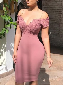 Bodycon Off the Shoulder Straps Open Back Blush Elastic Satin Knee Length Evening Party Dresses 190620010