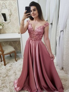 Elegant A-Line V Neck Open Back Blush Satin Long Prom Dresses with Appliques,Formal Party Dresses