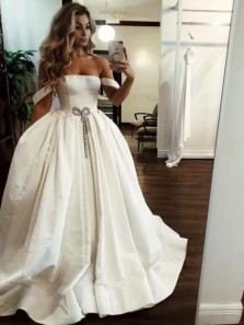 Elegant Ball Gown Off the Shoulder Open Back Ivory Satin Long Wedding Dresses with Pockets