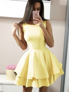 A-Line Round Neck Yellow Satin Tiered Short Homecoming Dresses,Back to School Dresses Cheap