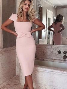 Bodycon Square Neck Cap Sleeved Knee Length Light Pink Satin Pencil Dresses,Short Homecoming Dresses,Wedding Guest Dresses