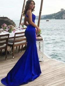 Fancy Mermaid Halter Open Back Elastic Satin Royal Blue Long Prom Dresses,Sexy Evening Party Dresses
