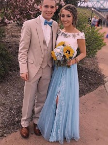 Stunning Two Piece A-Line Two Piece Blue Tulle Long Prom Dresses with Beading,Charming Evening Party Dresses
