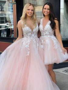 Charming Ball Gown V Neck Backless Pink Tulle Long Prom Dresses,Quinceanera Dresses