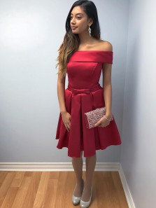 Sweet A-Line Off the Shoulder Open Back Red Satin Short Homecoming Dresses with Bow,Short Prom Dresses Under 100 DG0411011