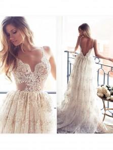Romantic A-line Strapless Long Lace Wedding Dress With Applique