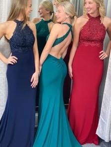 Elegant Mermaid Halter Open Back Dark Red Elastic Satin Long Prom Dresses with Beading,Formal Party Dresses