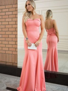 Unique Mermaid Sweetheart Spaghetti Straps Backless Blush Satin Long Prom Dresses with Bow,Coral Evening Party Dresses