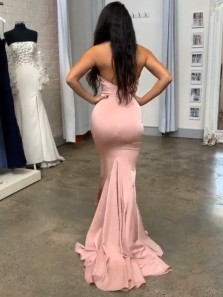 Sexy Mermaid Strapless Blush Pink Satin Long Evening Dresses,Sweetheart Formal Prom Dresses,Christmas Party Dresses