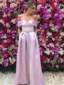 Charming A-Line Off the Shoulder Lavender Satin Long Prom Dresses with Pockets,Elegant Graduation Dresses